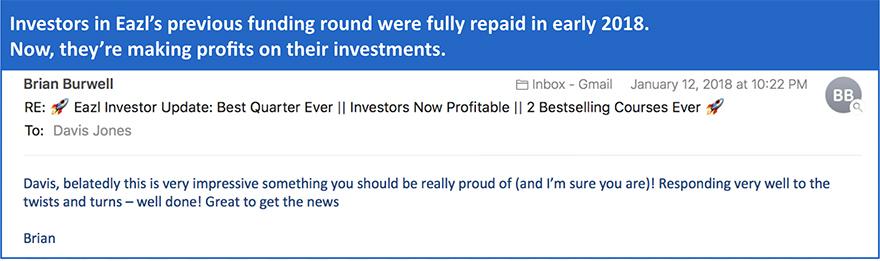 Eazl Investors Repaid in 2018